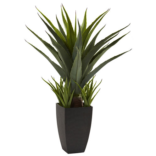 Nearly Natural Agave With Black Planter