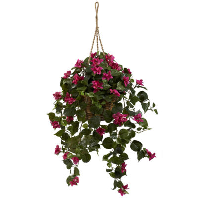 Nearly Natural Bougainvillea Silk Hanging Basket