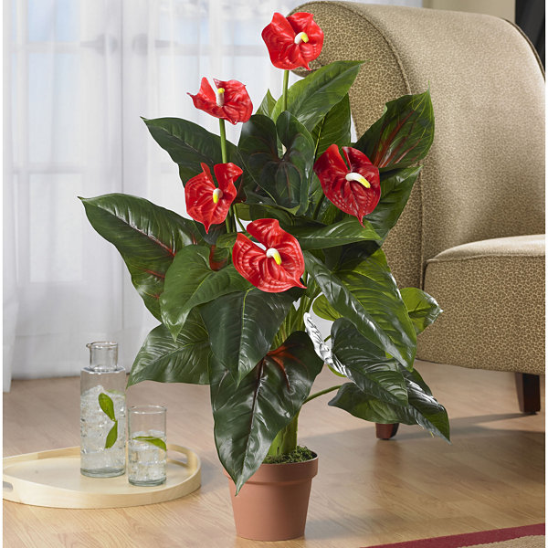 Nearly Natural 3-ft. Anthurium Silk Plant - Real Touch