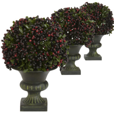 Nearly Natural Pepper Berry Ball Topiary Set Of 3