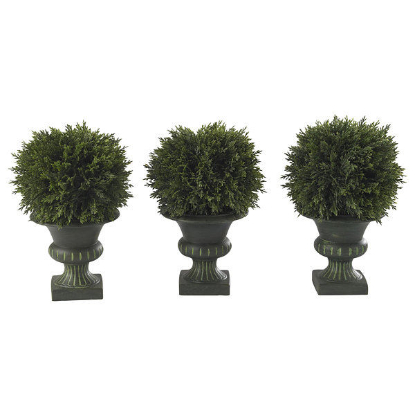 "Nearly Natural 9"" Cedar Ball Topiary Set Of 3"