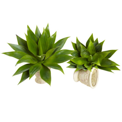 Nearly Natural 17 Agave Succulent Plant Set Of 2