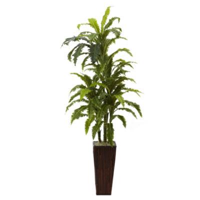 Nearly Natural Marginata With Bamboo Planter