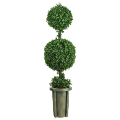 Nearly Natural Indoor/Outdoor 5-ft. Double-Ball Leucodendron Topiary