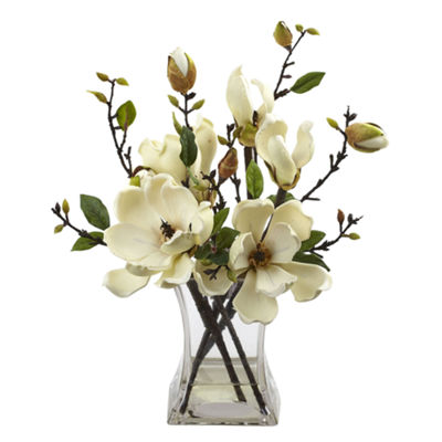 Nearly Natural Magnolia Arrangement With Vase
