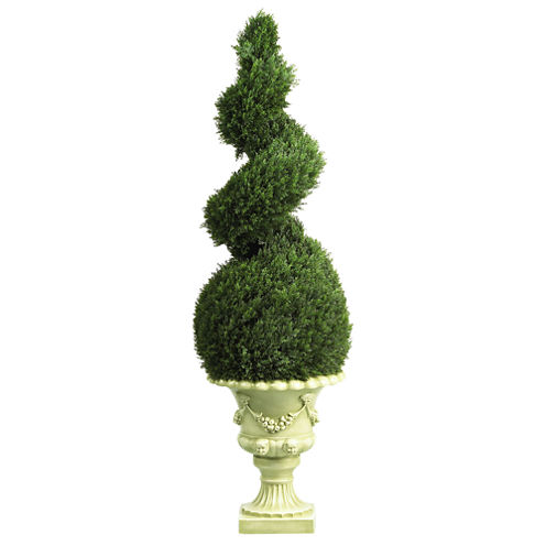 Nearly Natural Indoor/Outdoor 4-ft. Cedar Spiral with Decorative Vase