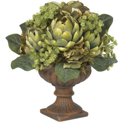 Nearly Natural Artichoke Centerpiece Silk Flower Arrangement