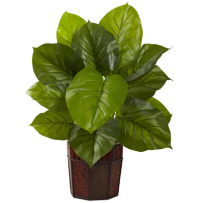 Nearly Natural Large Leaf Philodendron with Decorative Planter - Real Touch
