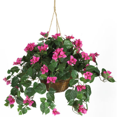Nearly Natural Bougainvillea Silk Plant Hanging Basket