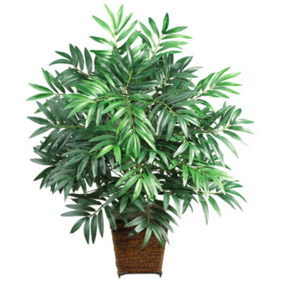 Nearly Natural Bamboo Palm Silk Plant with Wicker Basket