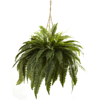 Nearly Natural Double Giant Boston Fern Hanging Basket