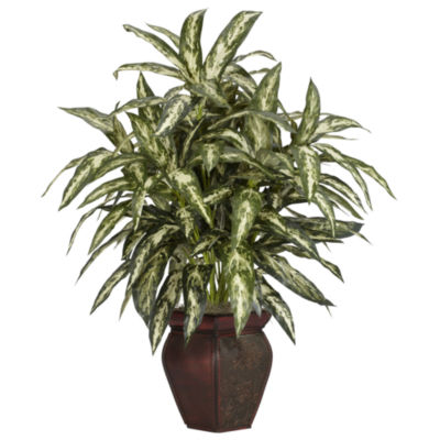 Nearly Natural Aglonema With Decorative Vase Silk Plant