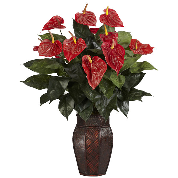 Nearly Natural Anthurium Silk Plant with Vase