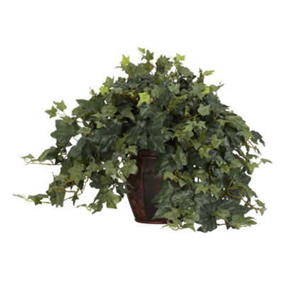 Nearly Natural Puff Ivy Silk Plant with Decorative Vase