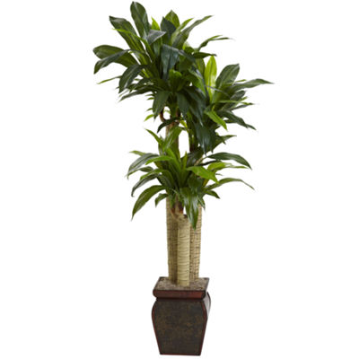 Nearly Natural 4.5-ft. Cornstalk Dracaena Silk Plant With Vase Real Touch
