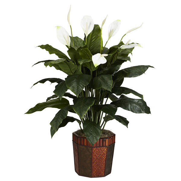 Nearly Natural Spathiphyllum Silk Plant with Vase
