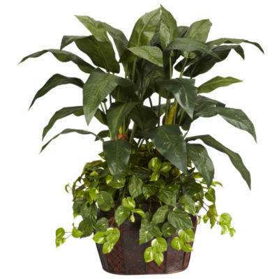 Nearly Natural 4-ft. Double Bird of Paradise & Pothos Silk Plant with Vase