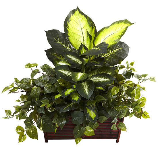 Nearly Natural Golden Dieffenbachia, Philo & Pothos with Wood Planter