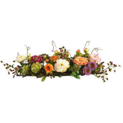 Nearly Natural Mixed Peony Centerpiece Silk Flower Arrangement