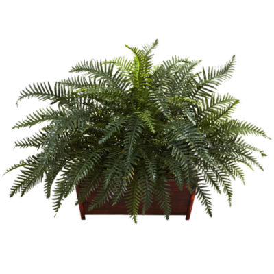 Nearly Natural River Fern with Wood Planter