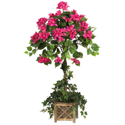 Nearly Natural Bougainvillea Topiary with Wood Box