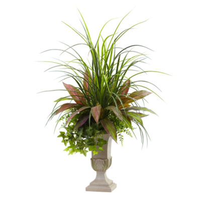 3' Mixed Grass, Dracena, Sage Ivy & Fern With Planter