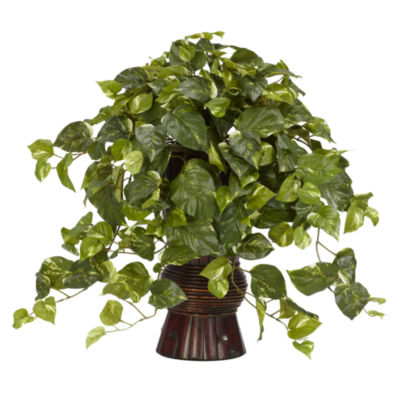 Nearly Natural Pothos Silk Plant with Bamboo Vase
