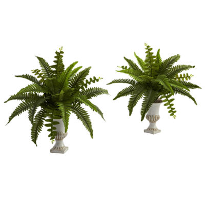 Nearly Natural Set of 2 Boston Fern with Urn