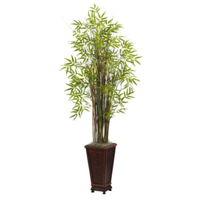 Nearly Natural 5.5-ft. Grass Bamboo Plant With Decorative Planter
