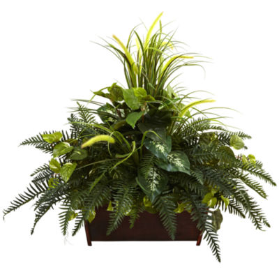 Nearly Natural Mixed Grass & River Fern with Wood Planter
