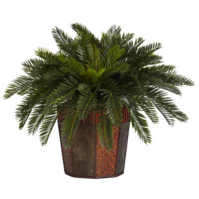 Nearly Natural Cycas Silk Plant with Octagon Vase