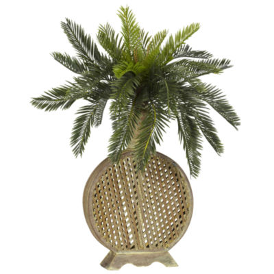 Nearly Natural Cycas Silk Plant with Decorative Vase
