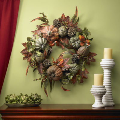 Nearly Natural 24 Pumpkin & Gourd Wreath
