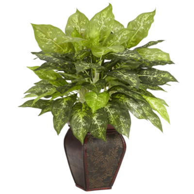 Nearly Natural Dieffenbachia With Decorative Vase Silk Plant