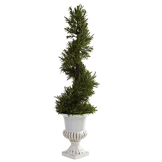 Nearly Natural 3 Ft Rosemary Spiral With Urn Indoor Outdoor
