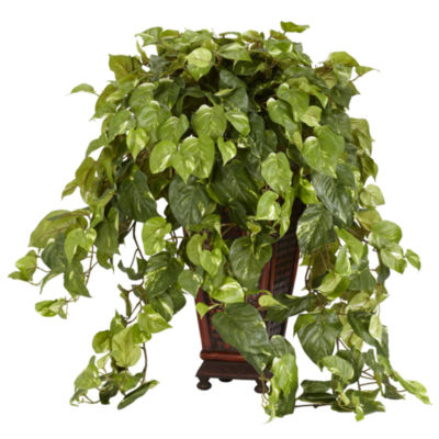 Nearly Natural Faux-Silk Vining Pothos with Decorative Vase