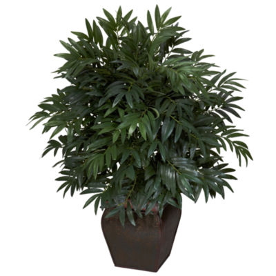 Nearly Natural Double Bamboo Palm With Decorative Planter Silk Plant
