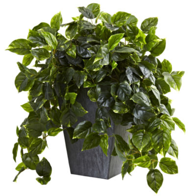 Nearly Natural Hanging Pothos With Slate Planter Indoor/Outdoor