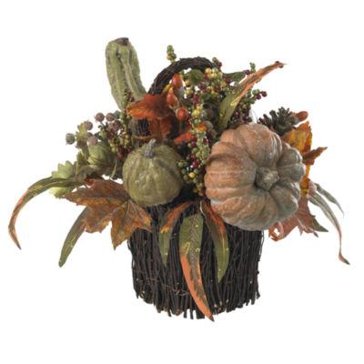 Nearly Natural Fall Pumpkin & Berry Table Arrangement