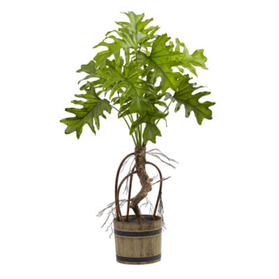 Nearly Natural Split Philo Plant With Bucket Planter