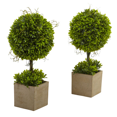 Nearly Natural Set of 2 Boxwood Topiary with Planter