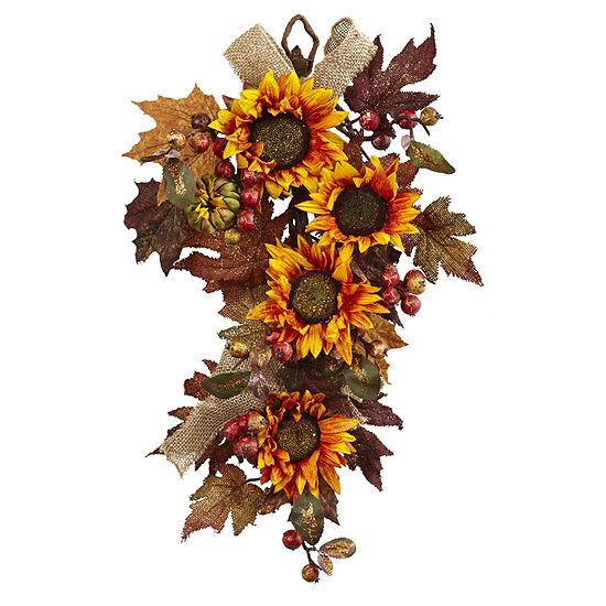 Nearly Natural 24 Sunflower Berry Teardrop