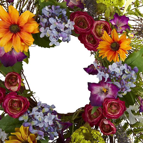 Nearly Natural 24 Spring Garden Wreath With Twig Base