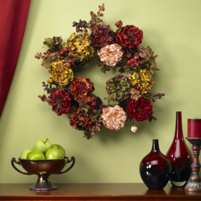 Nearly Natural 22 Autumn Hydrangea Peony Wreath