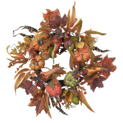 Nearly Natural 24 Pumpkin & Berry Wreath