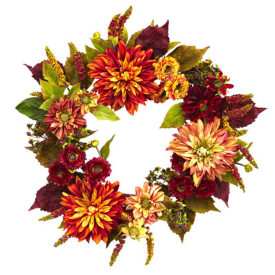 "22"" Dahlia  & Mum Wreath"