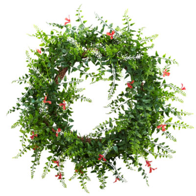 """18"""" Floral & Fern Double Ring Wreath With Twig Base"""