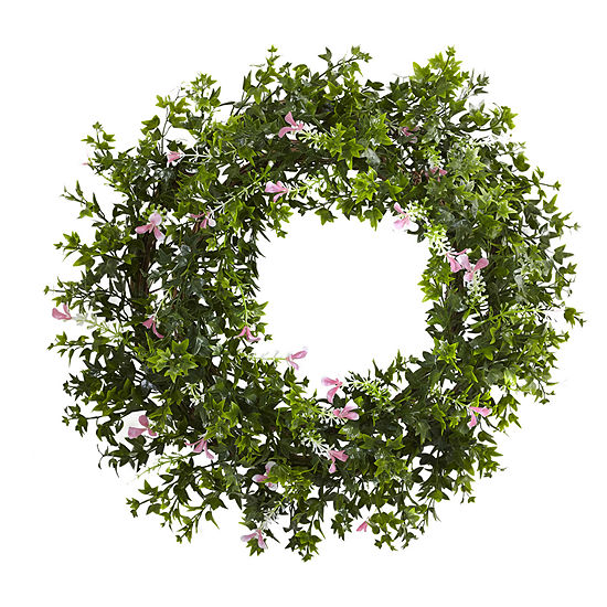 "18"" Mini Ivy & Floral Double Ring Wreath With Twig Base"