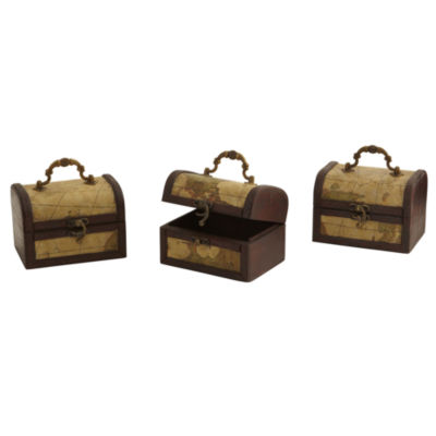 Nearly Natural Decorative Chest With Map Set Of 3
