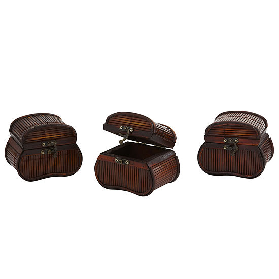 Nearly Natural Bamboo Chests Set Of 3